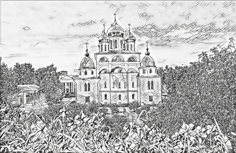 Monochrome sketch photographic art picture of shining golden cupola of orthodox church of Dmitrov Kremlin under blue sky. Monochrome sketch photographic art stock illustration