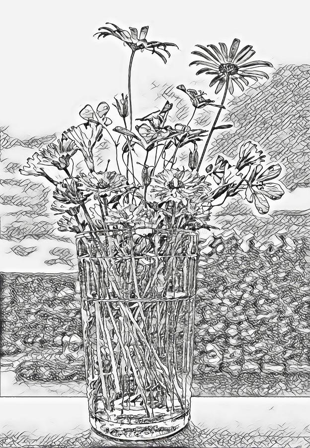 Monochrome sketch photographic art picture of various wild summer flowers in facetted glass with spring water. Monochrome sketch photographic art picture of vector illustration