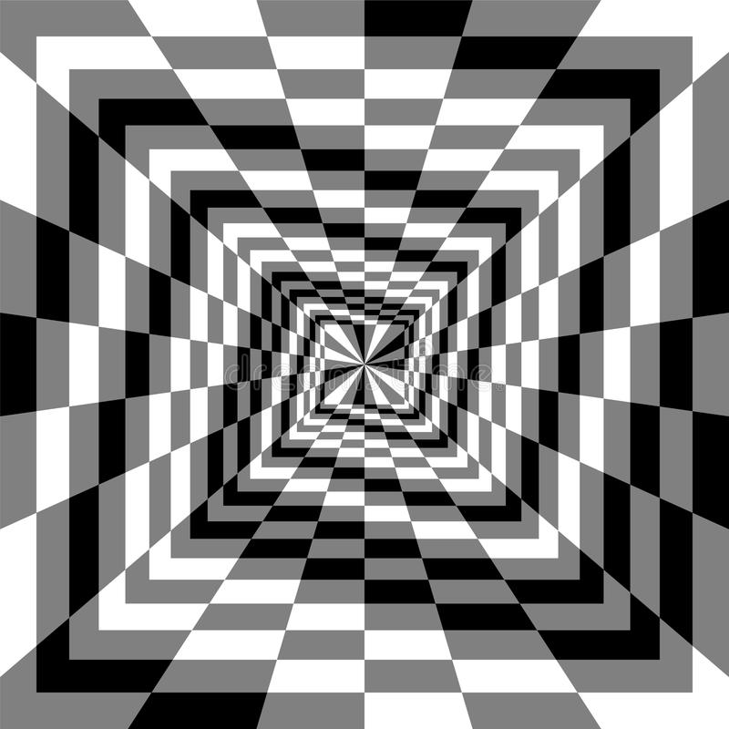 Monochrome Spirals of the Rectangles Expanding from the Center. Optical Illusion of Perspective. Suitable for Web Design. Vector Illustration. Monochrome royalty free illustration