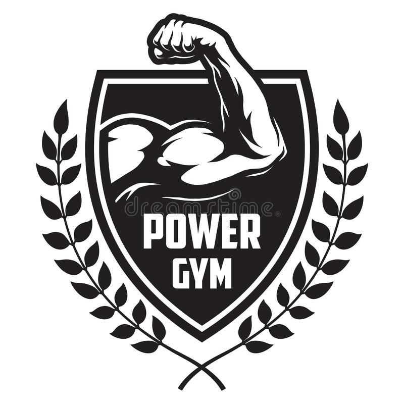 Monochrome sport and fitness logotype royalty free illustration