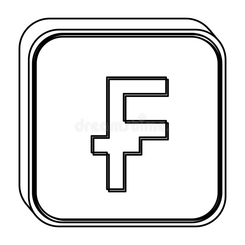 Monochrome Square Contour With Currency Symbol Of Frank French And