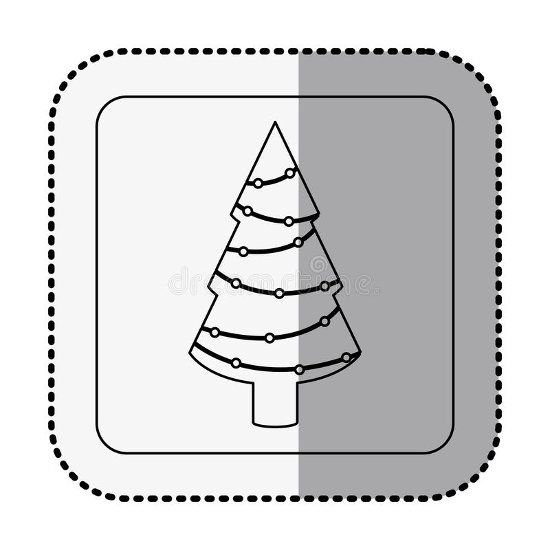 Monochrome square with middle shadow sticker with christmas tree. Vector illustration vector illustration