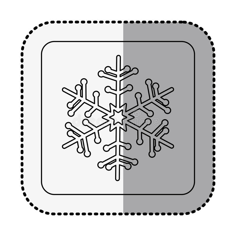 Monochrome square with middle shadow sticker with snowflake. Vector illustration stock illustration