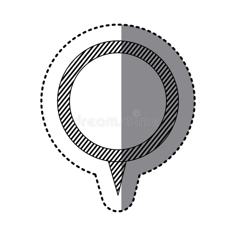 monochrome sticker of circular speech with tail and contour of stripes stock illustration