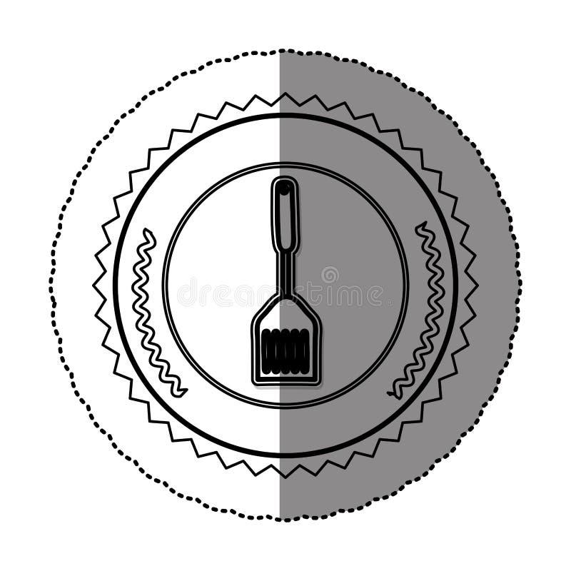 Monochrome sticker round frame with frying spatula. Illustration vector illustration