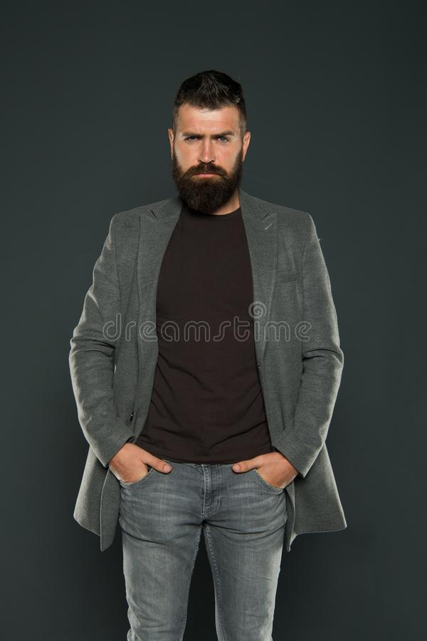 Monochrome style outfit. Classy but modern. Fashion outfit. Masculine look. Brutal hipster man. Hipster wearing casual. Clothes. Hipster beard and stylish stock photos