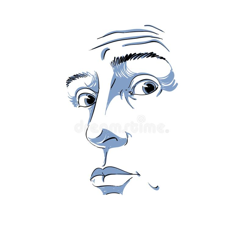 Monochrome vector hand-drawn image, surprised young man. Black a stock illustration
