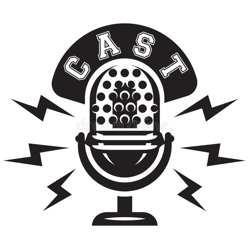 Monochrome vector illustration with microphone and wreath for stand-up.  royalty free illustration