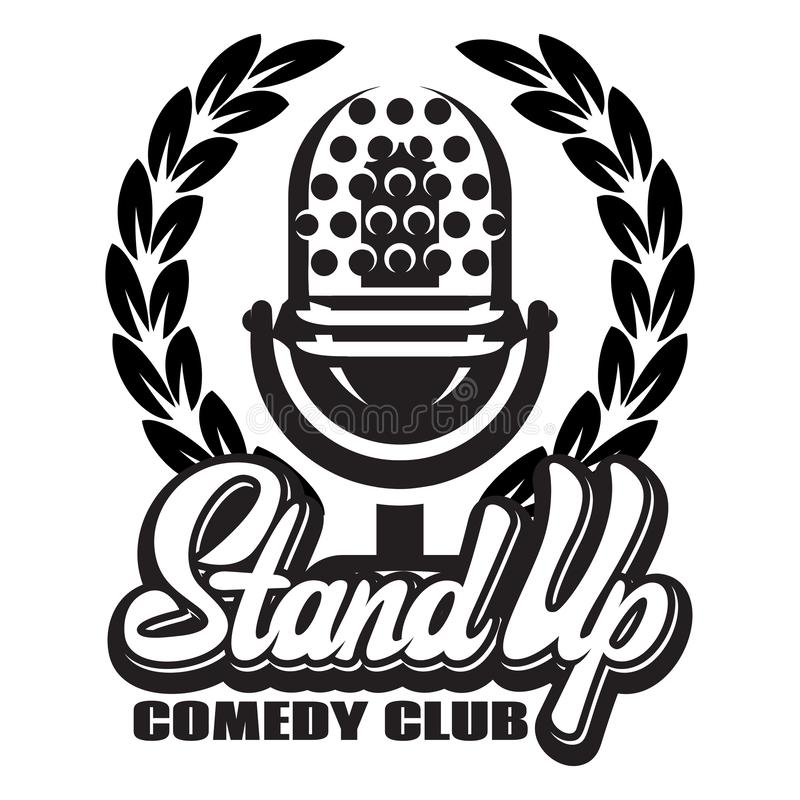 Monochrome vector illustration with microphone and wreath for stand-up.  vector illustration
