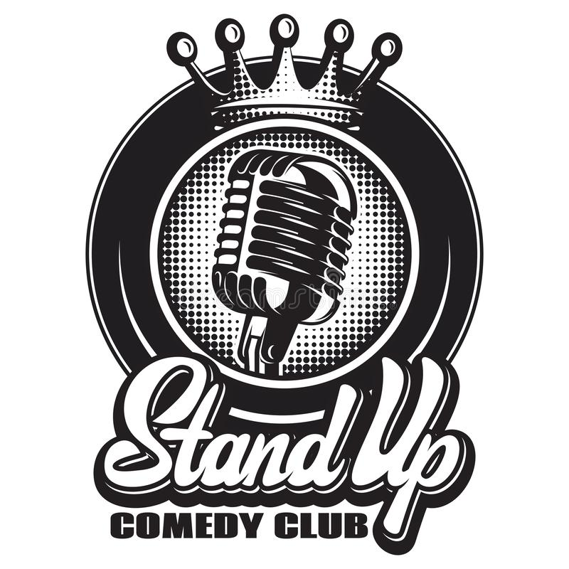 Monochrome vector illustration with microphone and wreath for stand-up.  stock illustration