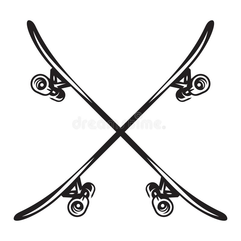 Monochrome vector illustration on the theme of skateboarding.  stock illustration
