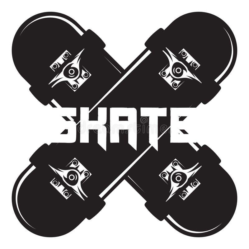 Monochrome vector illustration on the theme of skateboarding.  royalty free illustration