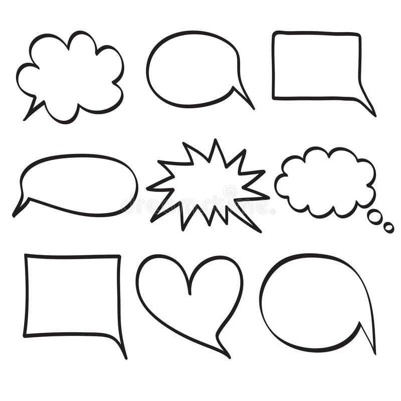 Monochrome vector speech boobles set. Set of hand drawn doodle frames for dialogue with place for text bubble. Vector illustration stock illustration