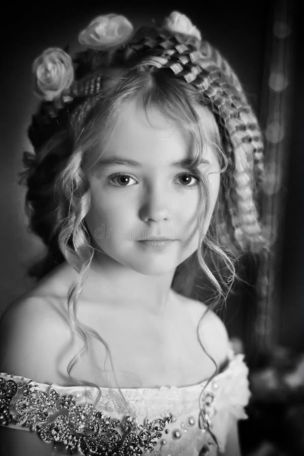 Monochrome vintage photo little princess stock image