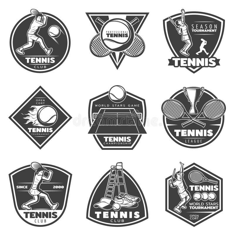 Monochrome Vintage Tennis Labels Set stock illustration