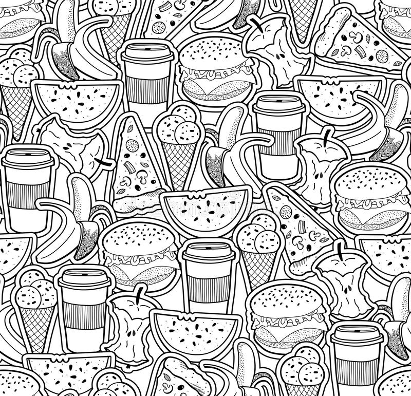 Monochrome Wallpaper With Food And Drinks. Stock Vector ...