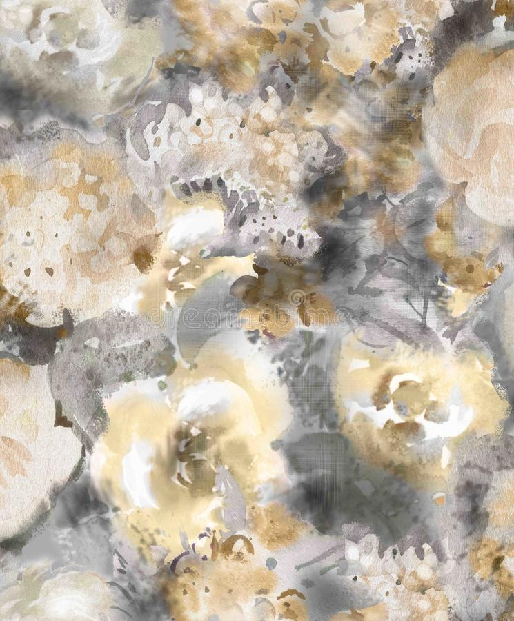 Monochrome watercolor gold decorative flowers on a dark background - a large pattern for wallpaper royalty free illustration