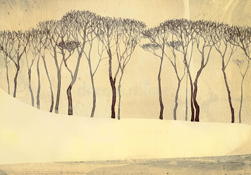 Monochrome winter landscape. Bare trees on quiet lake. Monochrome winter landscape depicted on toned textured paper. Tall bare trees on gentle snow-covered shore vector illustration