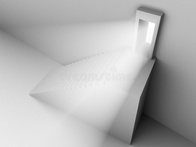 Download Monochromic 3d Rendered Image Of Stair To Door Royalty Free Stock Photos - Image: 12430218