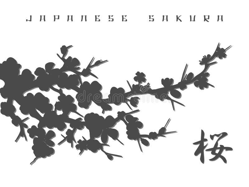 Japanese sakura silhouette background stock illustration