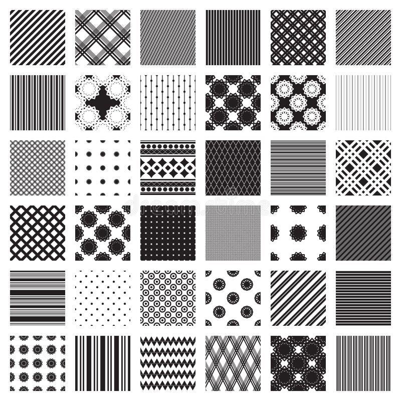 Monochromsatz Geometrische Muster Nur Schwarzweiss-Farben Vektor ...