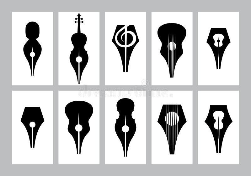 Monochromsatz Schablonen für Visitenkarte mit Spitze, Gitarre, Violine, Violinschlüssel stock abbildung