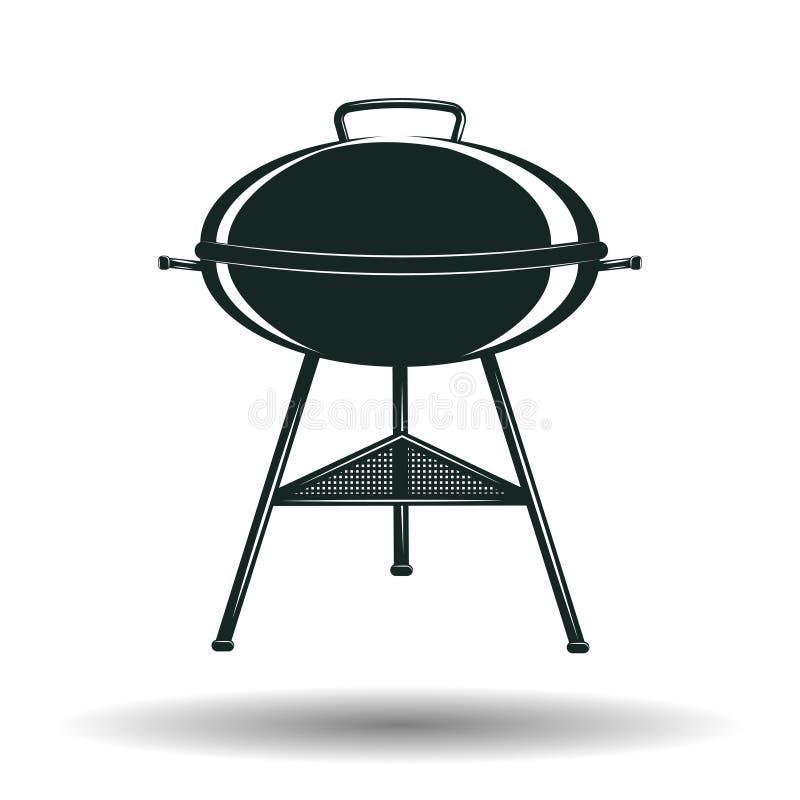 Monochromu BBQ grilla znak royalty ilustracja