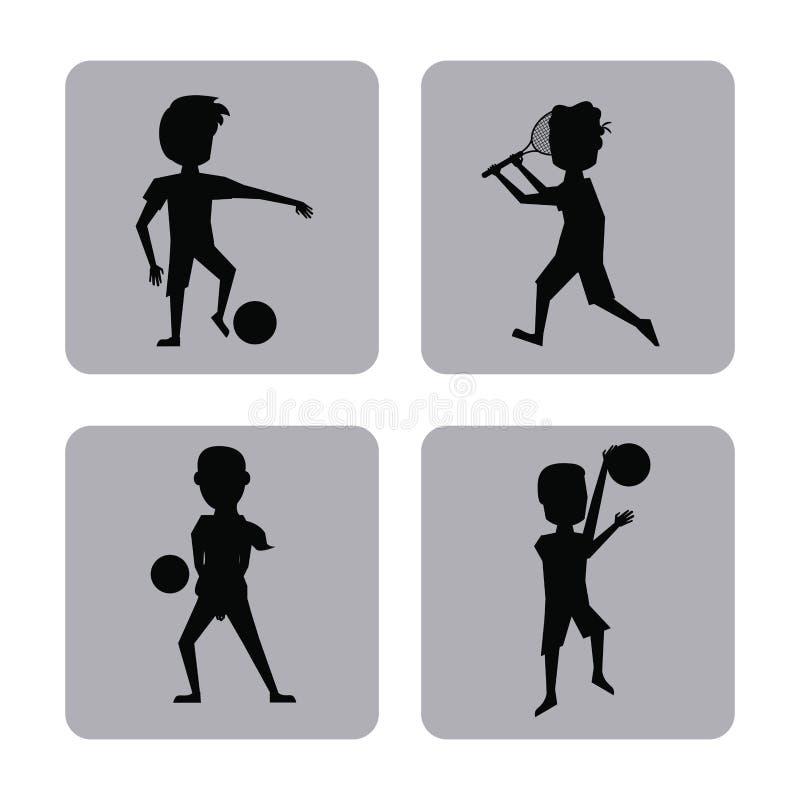 Monochromu kwadrata guziki ustawiają męskie sylwetek atlety differents sporty ilustracji
