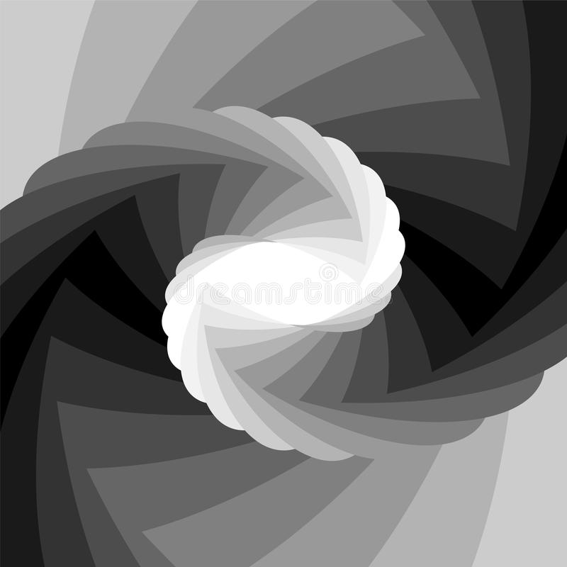 Monochromu Pasiasty Helix Migocący od Czarnego i Zbiegać się biel brzmienia centrum Okulistyczny złudzenie głębia i pojemność ilustracja wektor