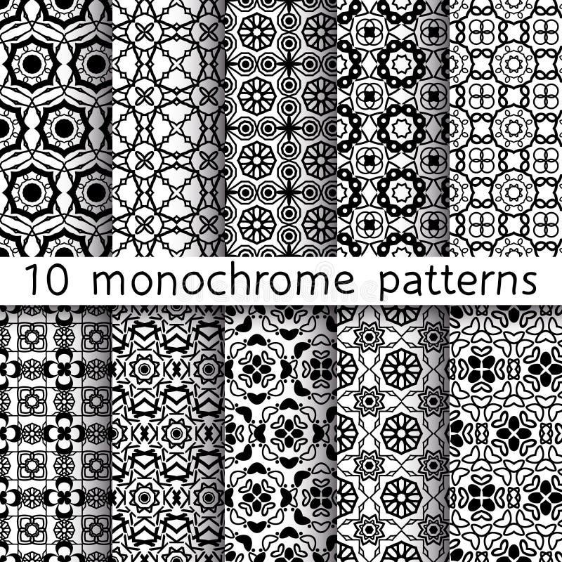 10 monochromu rocznika wzorów dla ogólnoludzkiego tła royalty ilustracja
