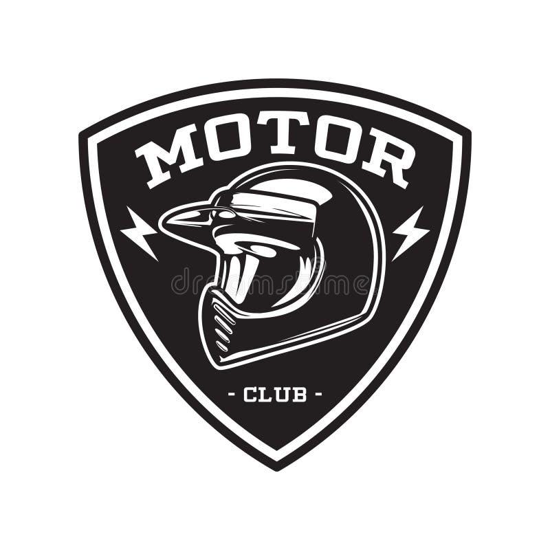 MONOCHROMU silnika klubu emblemat ilustracja wektor
