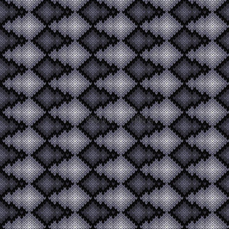 Monochromu trykotowy bezszwowy wzór royalty ilustracja