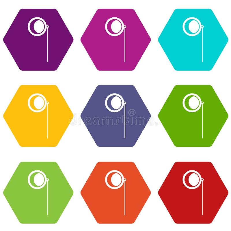 Monocle icon set color hexahedron royalty free illustration
