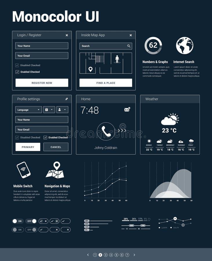 Monocolor UI zestaw - set interfejsu użytkownika projekt royalty ilustracja