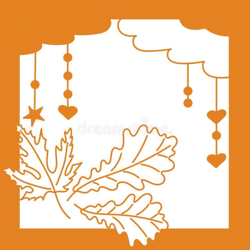 monocrom?tico Carvalho e folhas de bordo, nuvens, estrelas ilustração royalty free