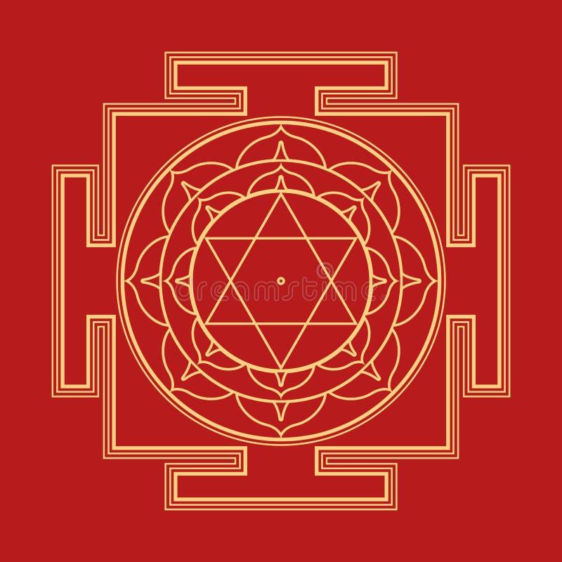 Monocrome outline Bhuvaneshwari yantra illustration. Vector gold outline hinduism Bhuvaneshwari yantra Prakriti illustration sacred diagram on red background vector illustration