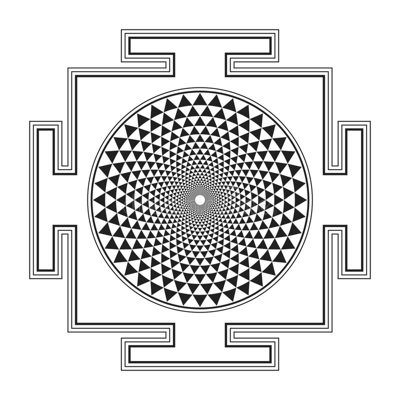 Monocrome outline Sahasrara yantra illustration. Vector black outline hinduism Sahasrara yantra illustration one thousand petals diagram on white background vector illustration