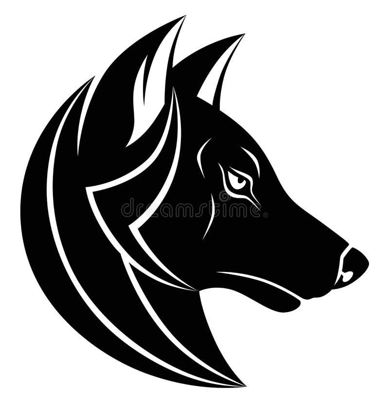 Monocromio capo del lupo illustrazione vettoriale