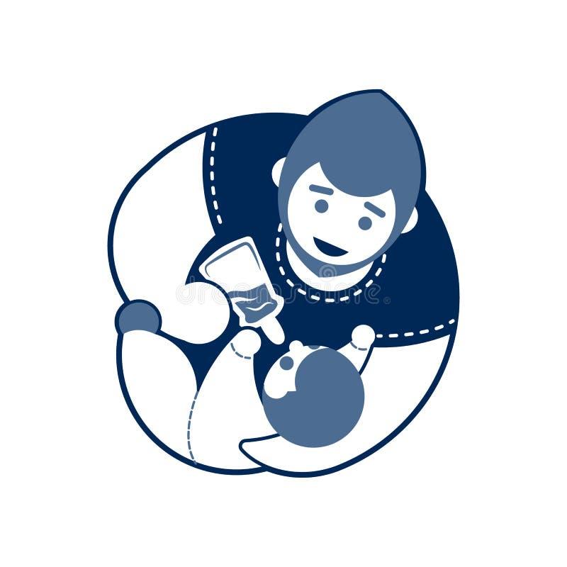 Download Monocromio Dell'emblema Del Bambino E Del Padre Illustrazione Vettoriale - Illustrazione di tipo, tenuta: 117978094