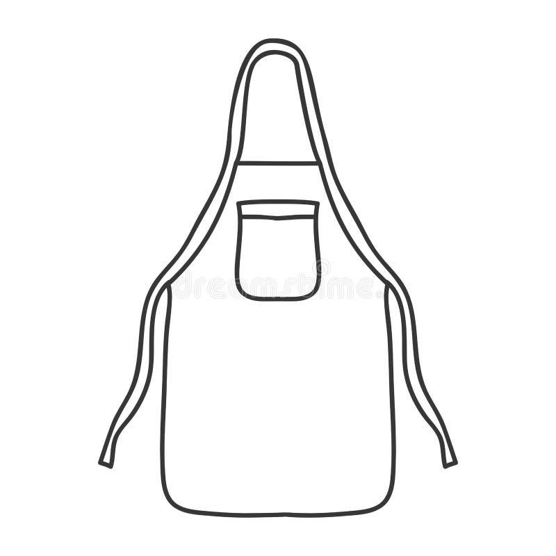 Monocromio della siluetta con il grembiule della cucina royalty illustrazione gratis