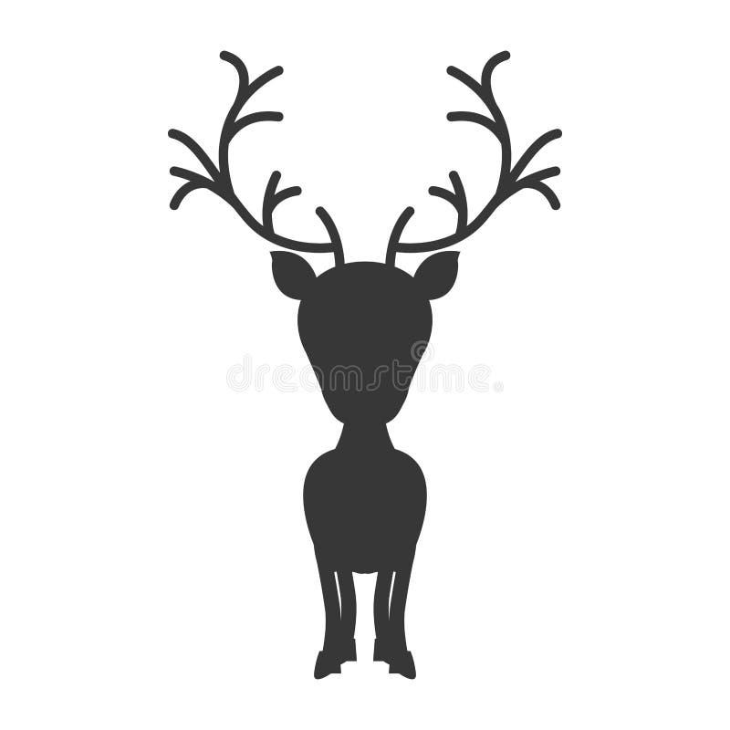 Monocromio della siluetta con la renna di grande testa royalty illustrazione gratis
