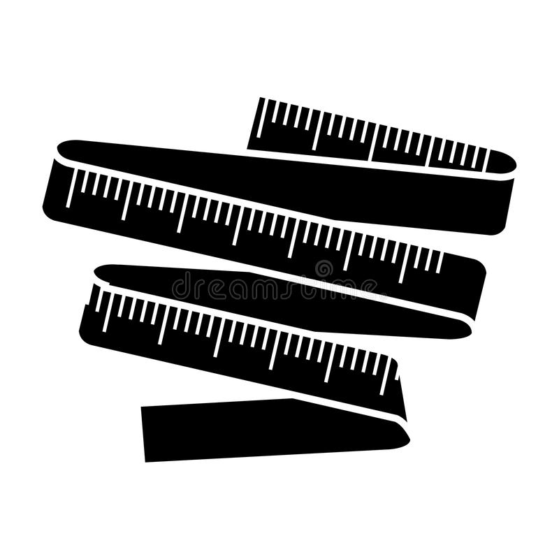 Monocromio della siluetta con nastro adesivo di misurazione royalty illustrazione gratis