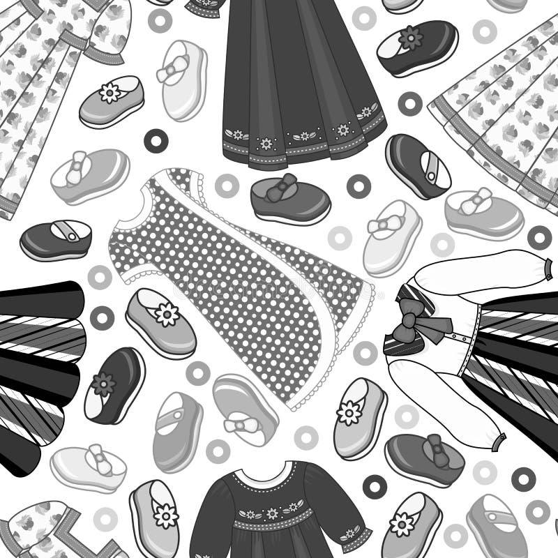 Monocromio senza cuciture del modello del panno piano del bambino di vettore illustrazione vettoriale