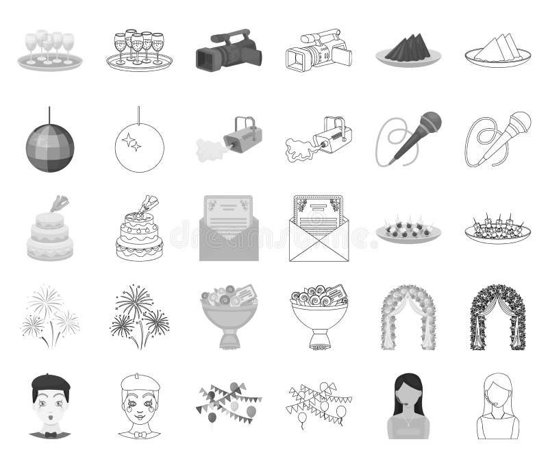 Monocromo de la organización del acontecimiento, iconos del esquema en la colección determinada para el diseño Acción del símbolo ilustración del vector