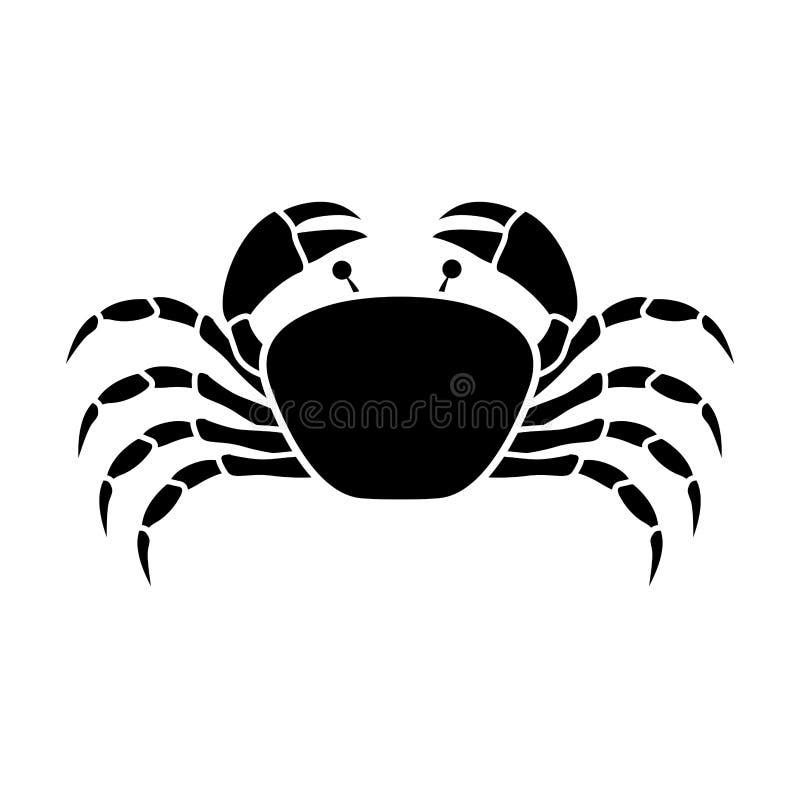 Monocromo de la silueta con el cangrejo arriba stock de ilustración