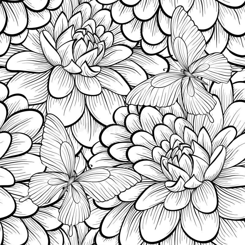 Monocromo hermoso, fondo inconsútil blanco y negro con la dalia de las flores ilustración del vector