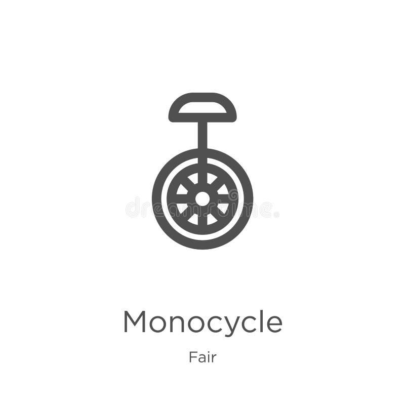 monocykl ikony wektor od uczciwej kolekcji Cienka kreskowa monocyklu konturu ikony wektoru ilustracja Kontur, cienieje kreskowego royalty ilustracja