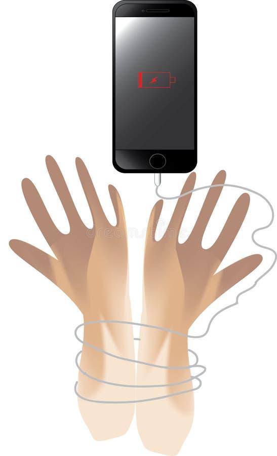 Monofobie deze vector is telefoon verbindt en bevlekt hand twee die de macht van het afvoerkanaalleven proberen royalty-vrije illustratie