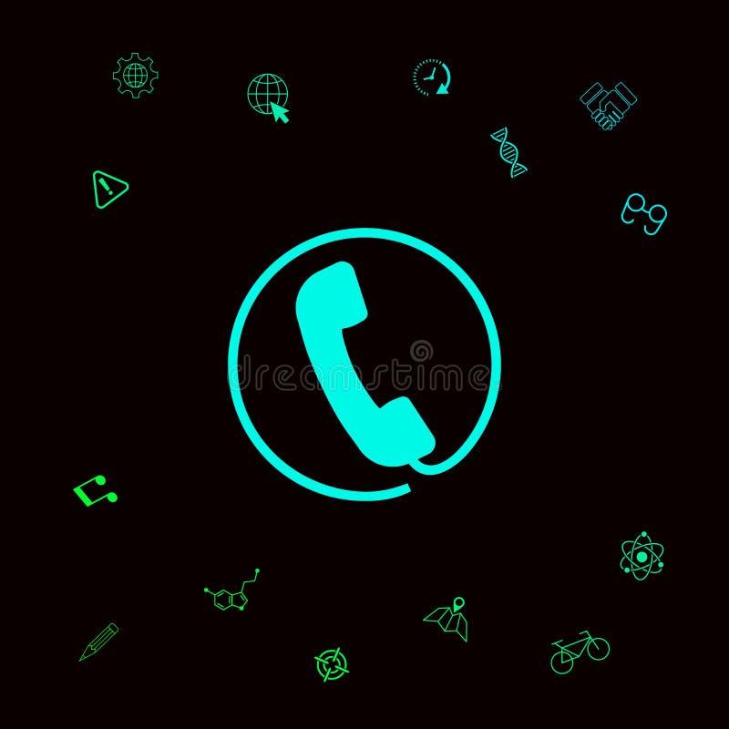 Monofone de telefone cercado por um cabo de telefone - ícone Elementos gráficos para seu designt ilustração do vetor