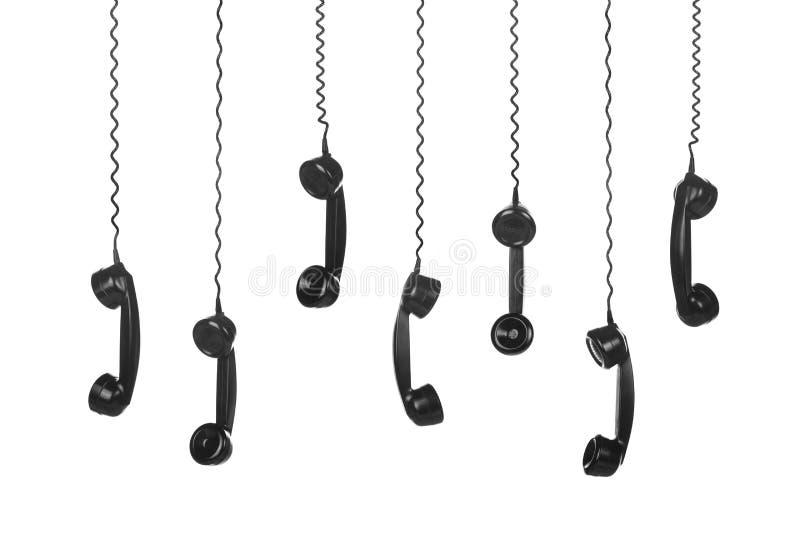 Monofones de telefone velhos do preto do vintage ilustração royalty free